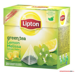 Herbata LIPTON PIRAMID GREEN LEMON MELISA 20t